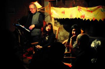 Aurélia Lassaque,Maram al-Masri, Henri Robert et Jean-Paul Oddos au coin du cantou